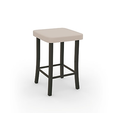 Amisco Ryan Textured Dark Brown Metal with Beige PU Stool (4003424/75DB)