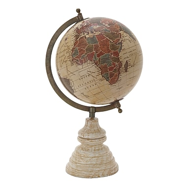 Benzara Wood Globe, Multicolour (24495)