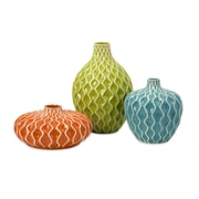 Benzara Vase, Orange, Green, Blue, 3/Pack (IMX-25016-3)