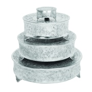 Benzara Cake Stand, Silver & Grey, 4/pack (15947)
