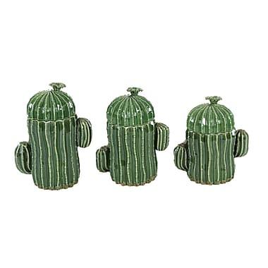 Benzara Ceramic Jar, Green, 3/Pack (BM118795)