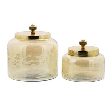 Benzara Glass Glossy Beige, 2/pack (BM119709)