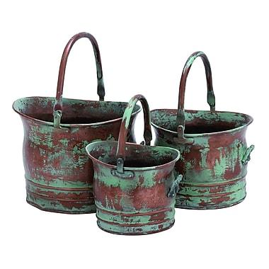 Benzara Metal Planter, Copper, 3/Pack (26909)