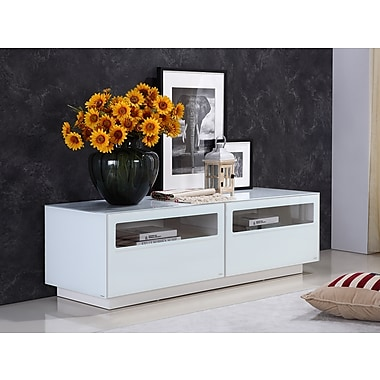 Casabianca Furniture Corte High Gloss White Lacquer Entertainment Center (Tc-0180-Wh)