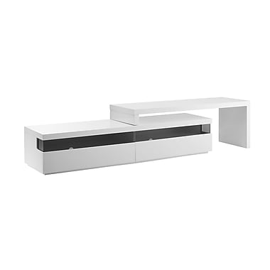 Casabianca Furniture Easy High Gloss White Lacquer Extendable Entertainment Center (Cb-3980Tv)