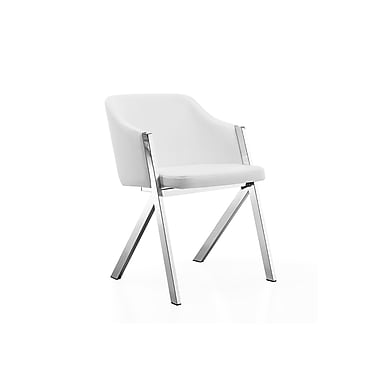 Casabianca Furniture Acorn White Eco-Leather Arm Dining Chair (Cb-F3202-W)
