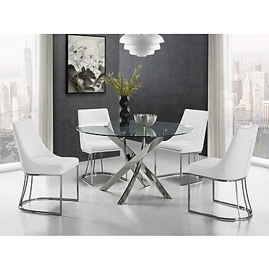 Casabianca Furniture Galaxy Chrome and Clear Glass Dining Table (Cb-F2133)