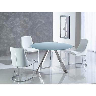 Casabianca Furniture Mondrian Stainless Steel Base and Grey Finish Glass Dining Table (Cb-362S)