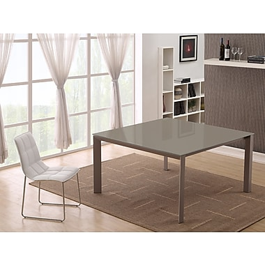 Casabianca Furniture Naples and Glass Dining Table, Taupe (Cb-8740)