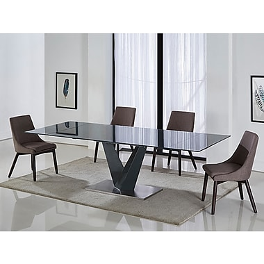 Casabianca Furniture Tempo Dark Grey Base and Dark Grey Glass Extendable Dining Table (Cb-317Dt)