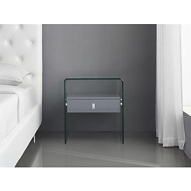 Casabianca Furniture Bari Glass Nightstand and End Table, Grey (Cb-J052-Grey)