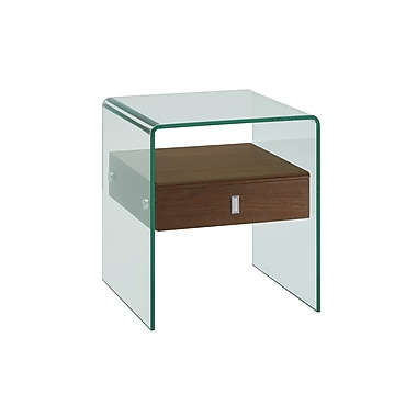 Casabianca Furniture Bari Glass Nightstand and End Table, Walnut Veneer (Cb-J052-Wal)