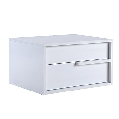 Casabianca Furniture Dolce High Gloss White Lacquer Nightstand and End Table