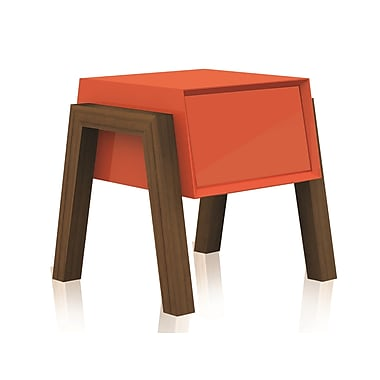 Casabianca Furniture Figo High Gloss Lacquer Nightstand and End Table, Orange (Cb-3937-Orange)