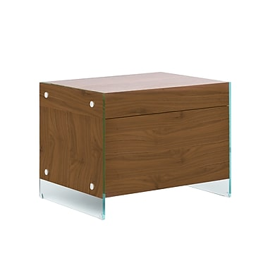 Casabianca Furniture Il Vetro Nightstand and End Table, Walnut Veneer (Cb-111-N-Wa)