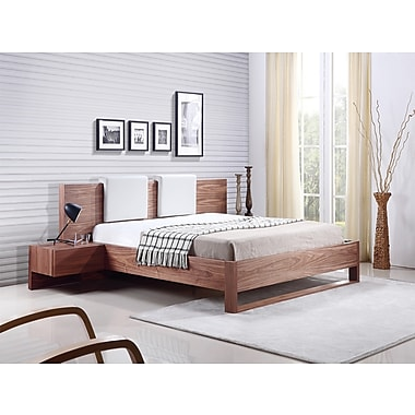Casabianca Furniture Bay Walnut Veneer Bed With Built-In Night Stands And Two Removable White Eco-Leather Headrest
