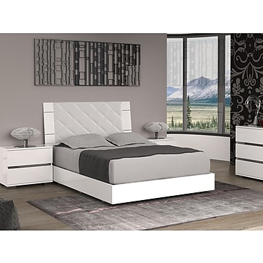 Casabianca Furniture Diamanti Light Grey Eco-Leather Headboard And High Gloss White Lacquer Bed, Queen Size (Tc-9001-Qw)