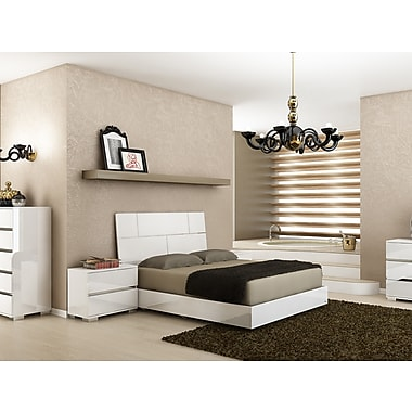 Casabianca Furniture Pisa High Gloss White Lacquer with Stainless Steel Bed
