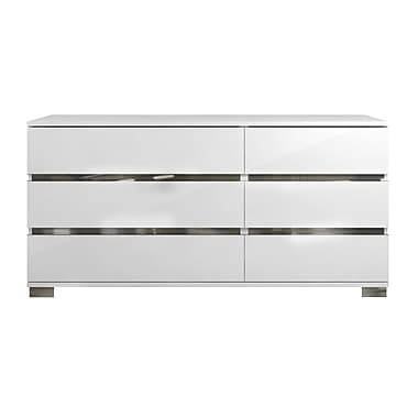 Casabianca Furniture Spark High Gloss White Lacquer Dresser (Tc-9003-Dr-Wh)
