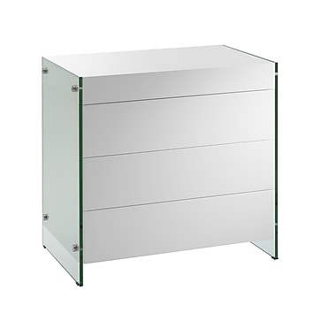 Casabianca Furniture Il Vetro Tempered Glass Tall Dresser and Nightstand, White (Cb-111-3Ns-Wh)