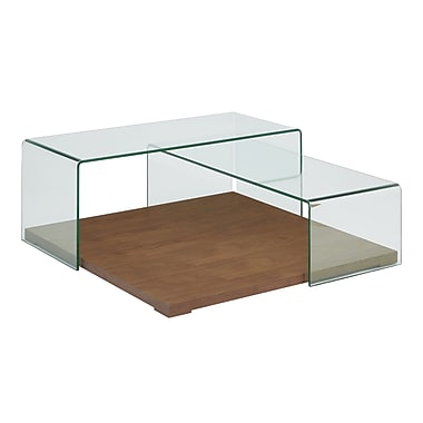 Casabianca Furniture Kinetic Walnut Veneer with Clear Glass Coffee Table (Cb-1100-Wal)
