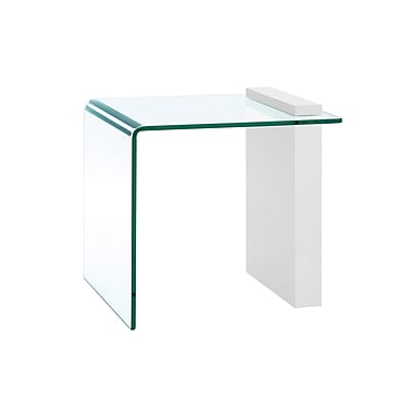 Casabianca Furniture Buono Glass End Table, White (Cb-1154-End-Wh)
