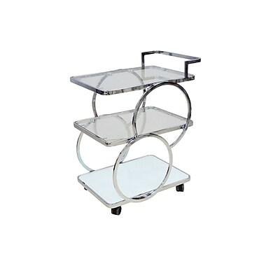 Casabianca Furniture Potenza Chrome and White Glass Bar Cart (Cb-D6008Cart)