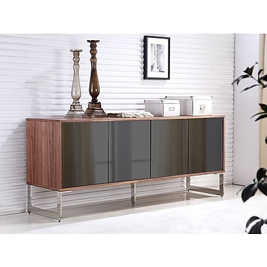 Casabianca Furniture Cuadro Mirrored Glass Buffet, Walnut Veneer (Tc-0128-Wal)
