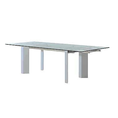 Casabianca Furniture Torino Tempered Glass Extendable Dining Table, High Gloss White Lacquer (Cb-D2048-Wht)