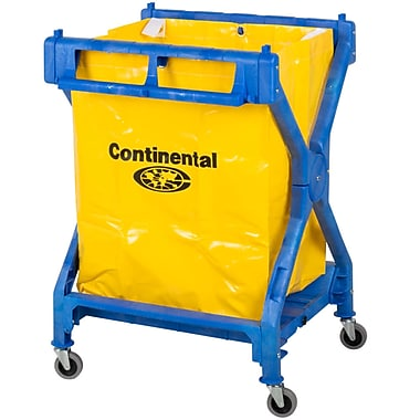 Continental X-Frame Janitor Cart with Yellow Vinyl Bag