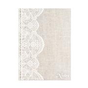 "Pierre Belvedere Large Notebook, Beige Lace Linen, 7"" X 9.5"" (7710960)"