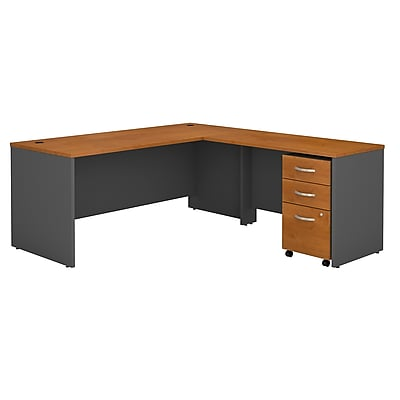 Bush Business Furniture Westfield 72W L Shaped Desk with 48W Return and Mobile File, Natural Cherry, Installed (SRC001NCSUFA)