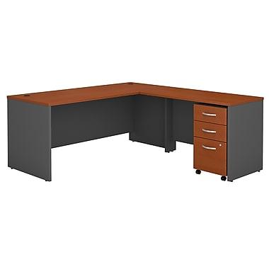Bush Business Furniture Westfield 72W L Shaped Desk with 48W Return and Mobile File, Auburn Maple, Installed (SRC001AUSUFA)