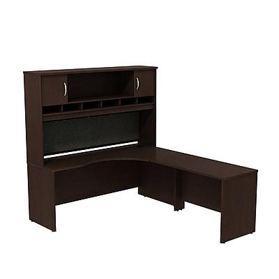 Bush Business Furniture Westfield Right Handed Corner L Shaped Desk with Hutch, Mocha Cherry (SRC002MRR)