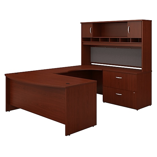 Peachy Bush Business Furniture Westfield 72W Right Handed Bow Front U Shaped Desk With Hutch Mahogany Installed Src005Marsufa Download Free Architecture Designs Grimeyleaguecom