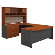 Bush Business Furniture Westfield 72W Left Handed Bow Front U Shaped Desk with Hutch and Storage, Auburn Maple (SRC005AULSU)