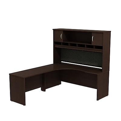 Bush Business Furniture Westfield Left Handed Corner L Shaped Desk with Hutch, Mocha Cherry (SRC002MRL)
