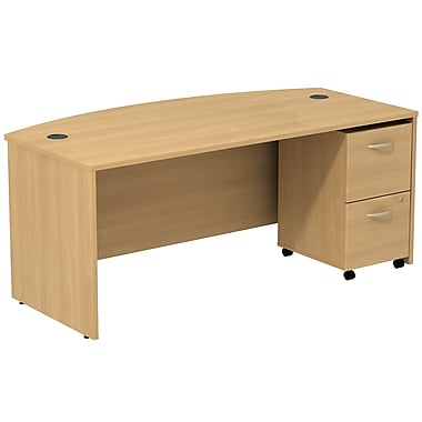 Bush Business Furniture Westfield Bow Front Desk with 2 Drawer Mobile Pedestal, Light Oak (SRC0020LOSU)
