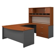 Bush Business Furniture Westfield 72W Right Handed Bow Front U Shaped Desk with Hutch and Storage, Auburn Maple (SRC005AURSU)