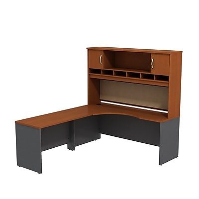 Bush Business Furniture Westfield Left Handed Corner L Shaped Desk with Hutch, Auburn Maple (SRC002AUL)