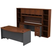 Bush Business Furniture Westfield Bow Front Desk with Credenza, Hutch and Bookcases, Hansen Cherry (SRC0010HCSU)