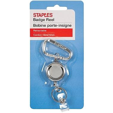 Staples® Spring Clip Badge Reel, Silver, 24