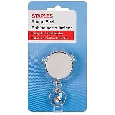 Staples® Klip-N-Pull Retractable Keycard Badge Reel, Silver, 24