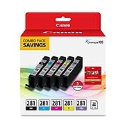 Canon CLI-281 Black/Photo Black/Cyan/Magenta/Yellow Standard Yield Ink Cartridge, 5/Pack (2091C006)