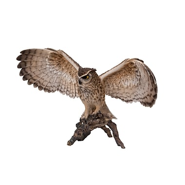 Hi Line Gift Ltd 87727 Eagle Owl On Branch With Open Wings Statue