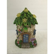Hi-Line Gift Ltd. 72042-30, Fairy Garden House with Leaf Roof and Stars - Solar LED Lights Statue