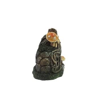 Hi-Line Gift Ltd. 72046-04, Fairy Garden Tree Root House with Door and Mushrooms Statue