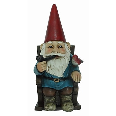 Hi-Line Gift Ltd. 75616-K, Gnome in Rocking Chair with Pipe and a Bird Statue