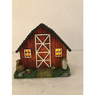 Hi-Line Gift Ltd. 72042-43, Barn with Milk Jug and Barrel Fairy Garden