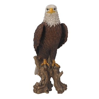 Hi-Line Gift Ltd. 87700-M, Bald Eagle on Stump Statue
